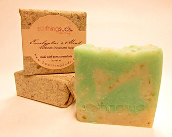 Eucalyptus + Mint Handmade Olive Oil & SHEA Butter Soap, Hot Processed Artisan Soap, All Natural Essential Oil soap, Soothing Suds Soap