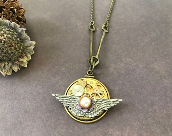 OOAK Steampunk Necklace, Victorian Necklace, Clock Gears, Unique Steampunk, Gothic Jewelry, Wing Jewelry, Vintage Watch Parts, Faux Pearl