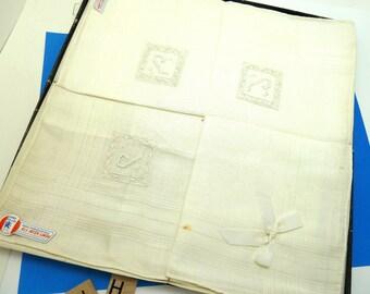 Set of Four Hand Embroidered Irish Linen Handkerchiefs in Original Box