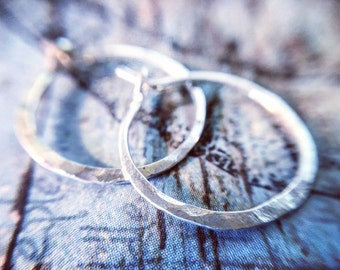Rustic Crescent Moon Hoop Earrings - Sterling Silver - XS - Extra Small Petite - Rustic Hammered Texture Hoops - Jennifer Cervelli Jewelry