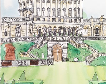 Ink and watercolor sketch of Cliveden House Buckinghamshire England
