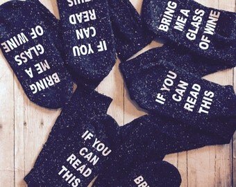 Wholesale 3 pair Socks  If you can read this bring me a glass of wine Dark gray and black  Speckle knit socks
