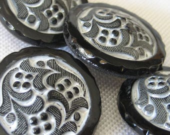 Set of 4 VINTAGE Swirl White Painted Black Glass BUTTONS