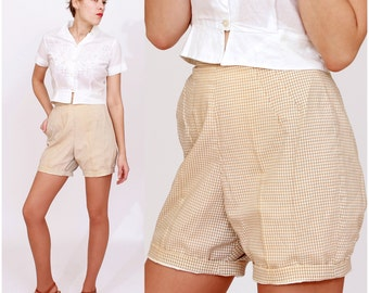 Vintage 1950s Brown and White Gingham Patterned Shorts by Fritzi of California | XS/Small