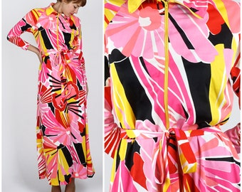 Vintage 70s Wild Pink and Red Patterned Floral Belted Loungewear Maxi Dress by Saks Fifth Avenue | Small
