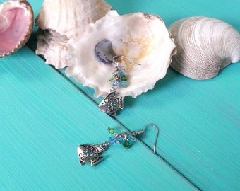 fish charm earrings with swarovski crystals - mermaid earrings, blue & green, mermaid accessory