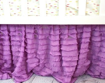 Purple Crib Skirt - Ruffle Crib Skirt - Lilac Dust Ruffle Crib Bed Skirt - Purple Crib Bedding Baby Bed Skirt- Lavender Crib Skirt- Bedskirt