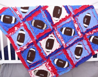 Football Quilt Sport Nursery Decor - Blue / Red Crib Bedding Baby Boy Nursery - Baby Boy Bedding - Boy Crib Quilt Baby Bedding- Blue Bedding