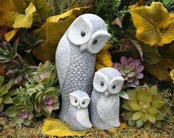 Concrete Owl Statues, Set of 3, Owl Family Outdoor Garden Sculpture
