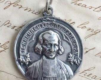 St John Vianney / Curé d'Ars / St Philomena Medal - Patron of priests - Antique Reproduction