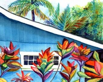 Hanalei Kauai Cottage 8x10 print from Kauai Hawaii blue house tropical Kauai art prints Hawaiian decor Hawaii art