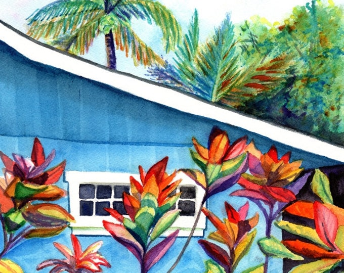 Hanalei Kauai Cottage 8x10 print from Kauai Hawaii blue house tropical Kauai art prints Hawaiian decor Hawaii art