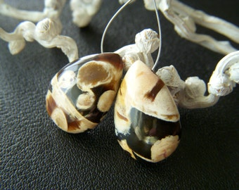 RESERVED - Petrified Peanut Wood Drops - Pair - 12x18mm