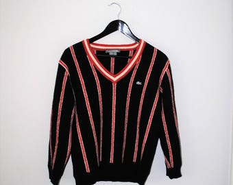 lacoste baby alpaca sweater 80s vintage black red + white striped varsity pull over jumper small