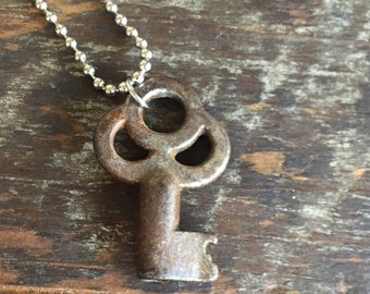 Charms on Chain, Vintage skeleton key on Base Metal Ball Chain, Upcycled Gifts under 20, Gifts for Her, Victorian key