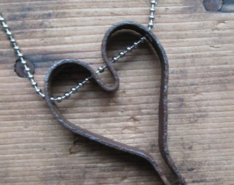 VALENTINES SALE Charms on Chain, Vintage Iron Metal Primitive Heart on Base Metal Ball Chain, Reclaimed, Upcycled Gifts under 20, Gifts for
