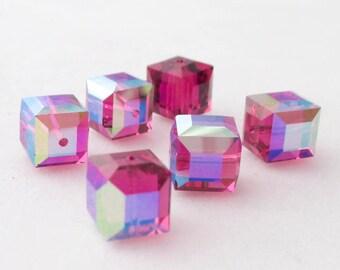 6 Swarovski Cube Crystals - 5601 8mm Fuchsia AB