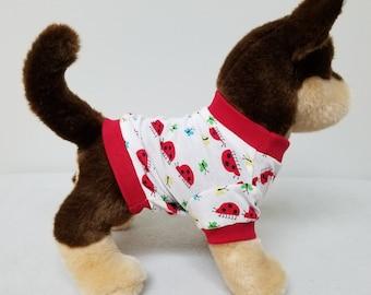 Dog Clothes Little Ladybugs Tshirt, Chihuahua, Yorkie