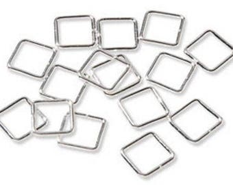 Package of 12 Square Silver Plated Jump Rings