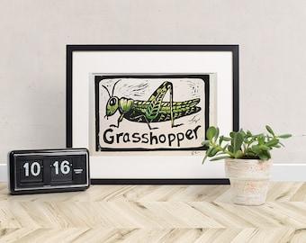 G is for Grasshopper Linocut
