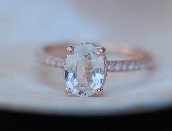 Blake Lively ring White Sapphire Engagement Ring oval cut 14k rose gold diamond ring 2.3ct White sapphire ring