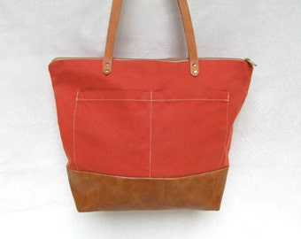 SARAH D. HANDBAG in Waxed Army Duck  //  Waxed Canvas Tote // Waxed Canvas and Faux Leather Carry-All