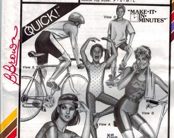 1990s Vintage Sewing Pattern Stretch and Sew 312 Childs Girls Misses Mens Tights Bicycle Shorts Stretch Knit Pants 1980s 1988 UNCUT