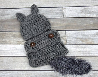 Baby Squirrel Set, Crochet Baby Set, Grey Squirrel Hat, Baby Halloween Costume, Newborn Hat Set, Diaper Cover and Hat, Baby Hat, Infant Hat