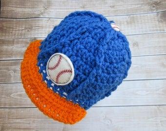 Baby Boy Baseball Hat, Boy Baseball Cap, Newborn Boy Hat, Newborn Baby Hat, Baby Boy Hat, Baby Girl Hat, Baby Sports Hat, Baby Beanie, Blue