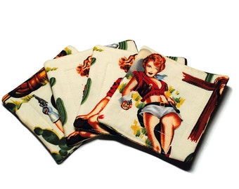 Handmade Quilted  Coasters set of 4 Sassy Cowgirls White Alexander Henry