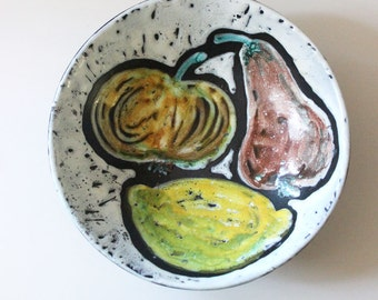 Fruit Bowl.  Vintage 1950s wall plate.