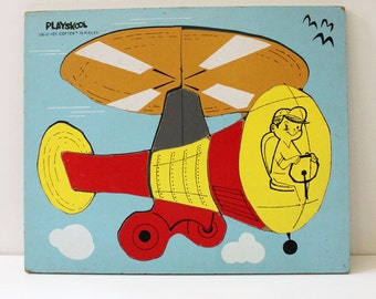 Mid century 1950s Playskool helicopter puzzle.