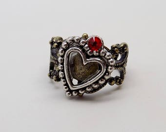 Steampunk jewelry heart ring.