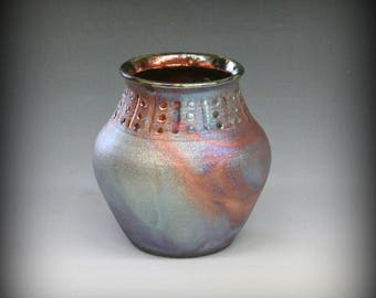 Raku Pot in Frosty Metallic Blue and Copper