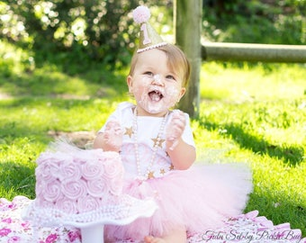 Pink and Gold Twinkle Twinke Little Star First Birthday Outfit Girl, Cake Smash Outfit Girl, 1st Birthday Outfit Girl, SEWN Tutu Skirt Set