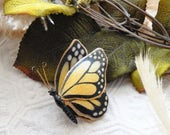 Easter Sale...... Vintage Weiss Hand Painted Gold Black Yellow RARE Monarch Butterfly Brooch Pin