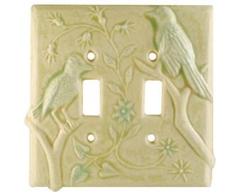 Birds Ceramic Double Toggle Light Switch Cover in Cream Moss Glaze