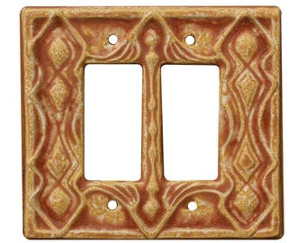 Moroccan Ceramic Light Switch Cover- Double Rocker in Sandstone Glaze