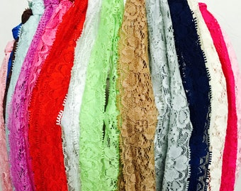 "Grab Bag assorted 2"" Premium Lace Elastic Floral Elastic - DIY Headband Elastic, Wholesale Elastic - appx 15 yards"