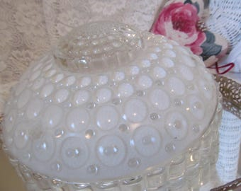 Art Deco Vintage Glass Ceiling Light Fixture - Clear and Opaque Bubble Chic 3 Chain Hanging Shade - Bird Feeder Bath