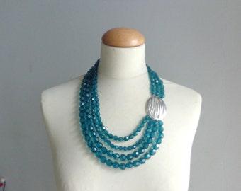 Blue Statement necklace longer style multistrand necklace