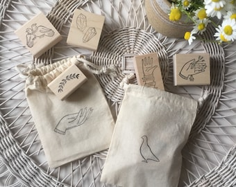 MYSTERY BAG of rubber stamps from Brown Pigeon and Tusk & Cardinal - with hand-printed gift bag (includes 3 stamps)