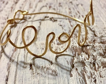 Gold wire Sculpted LOVE bracelet, Valentines gift #26