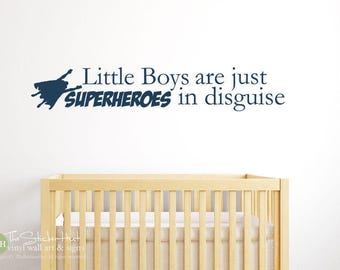 Little Boys Are Just Superheroes in Disguise Vinyl Wall Decal - Nursery Decor - Toddler Decor - Bedroom Accent Words Stickers Decals 1974