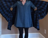 Buffalo Check Flannel Shawl Cape Scarf Poncho Blue READY TO SHIP