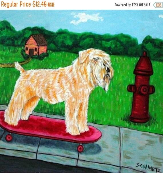 30% off Soft Coated Wheaton Terrier Skateboarding Dog Art TILE Coaster JSCHMETZ modern abstract folk pop art american ART gift