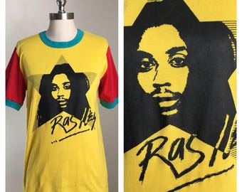 80s Raslley Jamaican Rasta Yellow Red Green Graphic Tee, Size Men's Small or Women's Medium