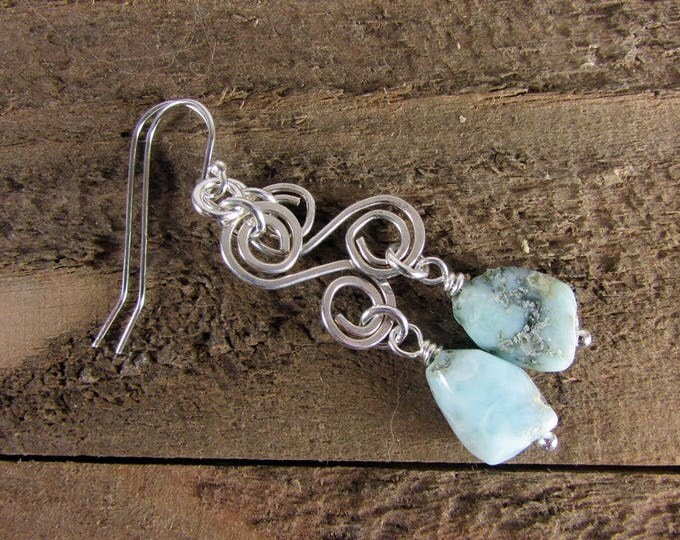 Larimar Earrings, Sterling Silver Jewelry, Blue Larimar Gemstone, Original Jewelry