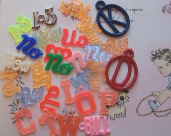 novelty words, numbers and letters charms