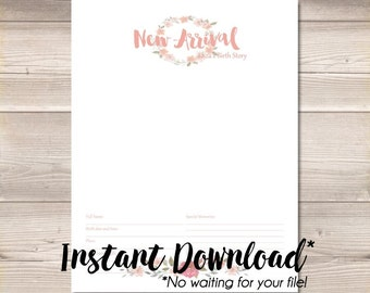 Instant Download* Digital PDF Watercolor Wreath Blush Pink Digital Baby Book Pages